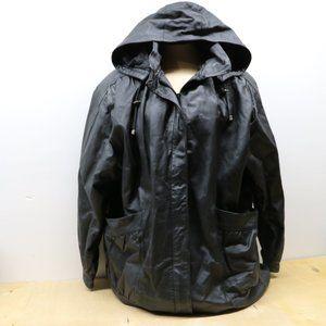 Liz Baker Black Leather Jacket Woman's XL w/ Hood